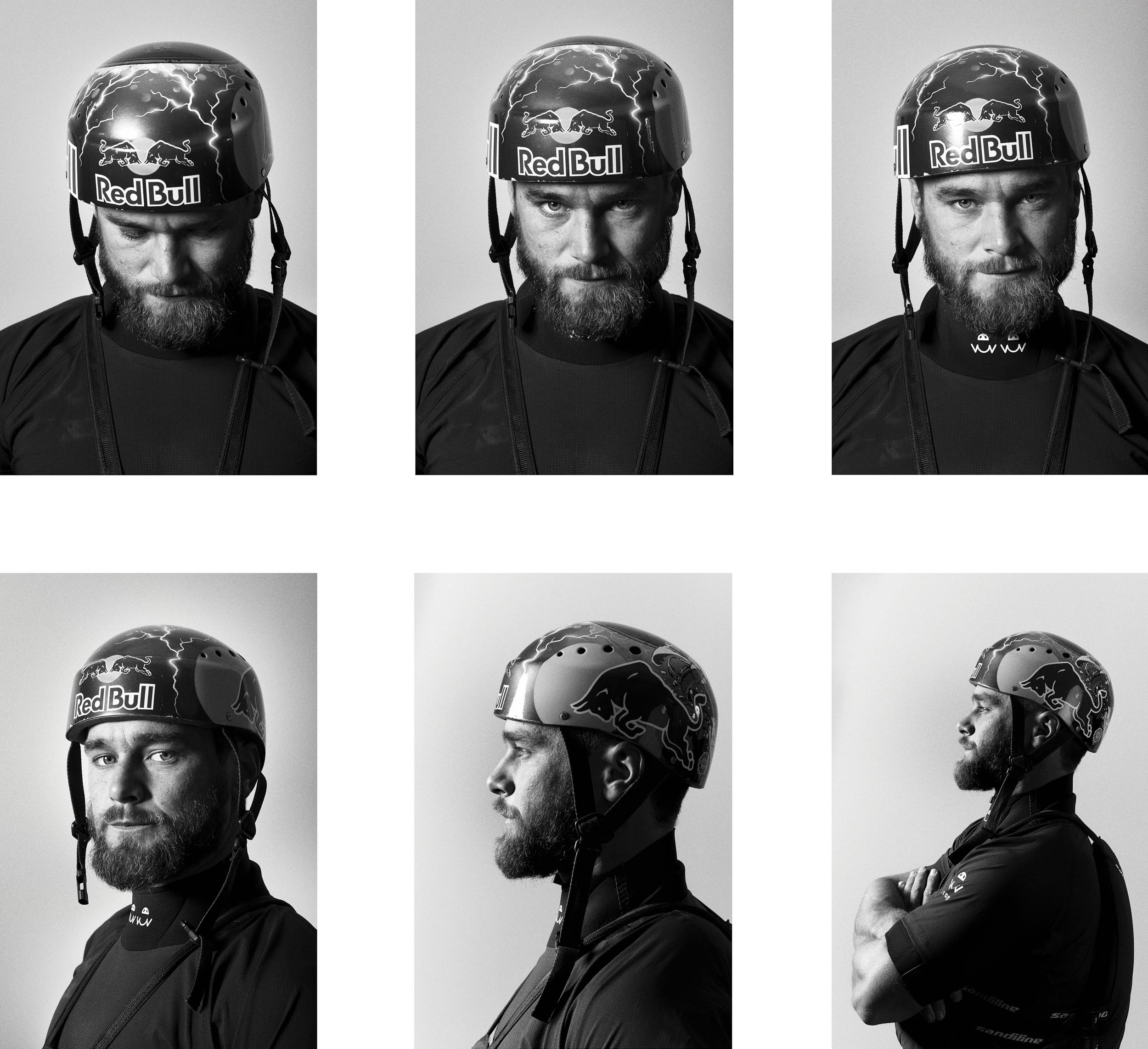 Six black and white portraits of a professional slalom canoeist arranged in a grid.