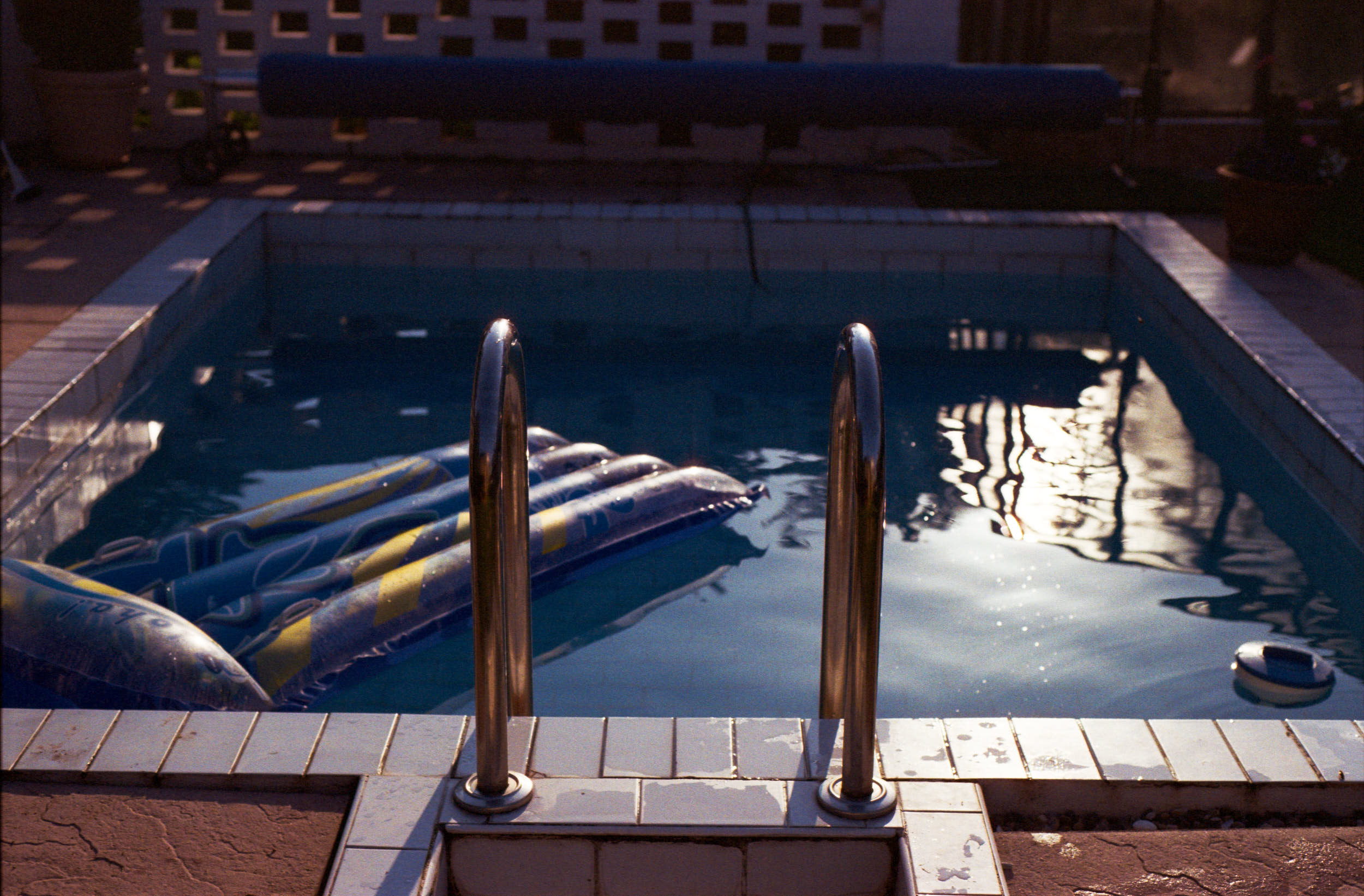 Summer vibes. Swimming pool in the evening light.