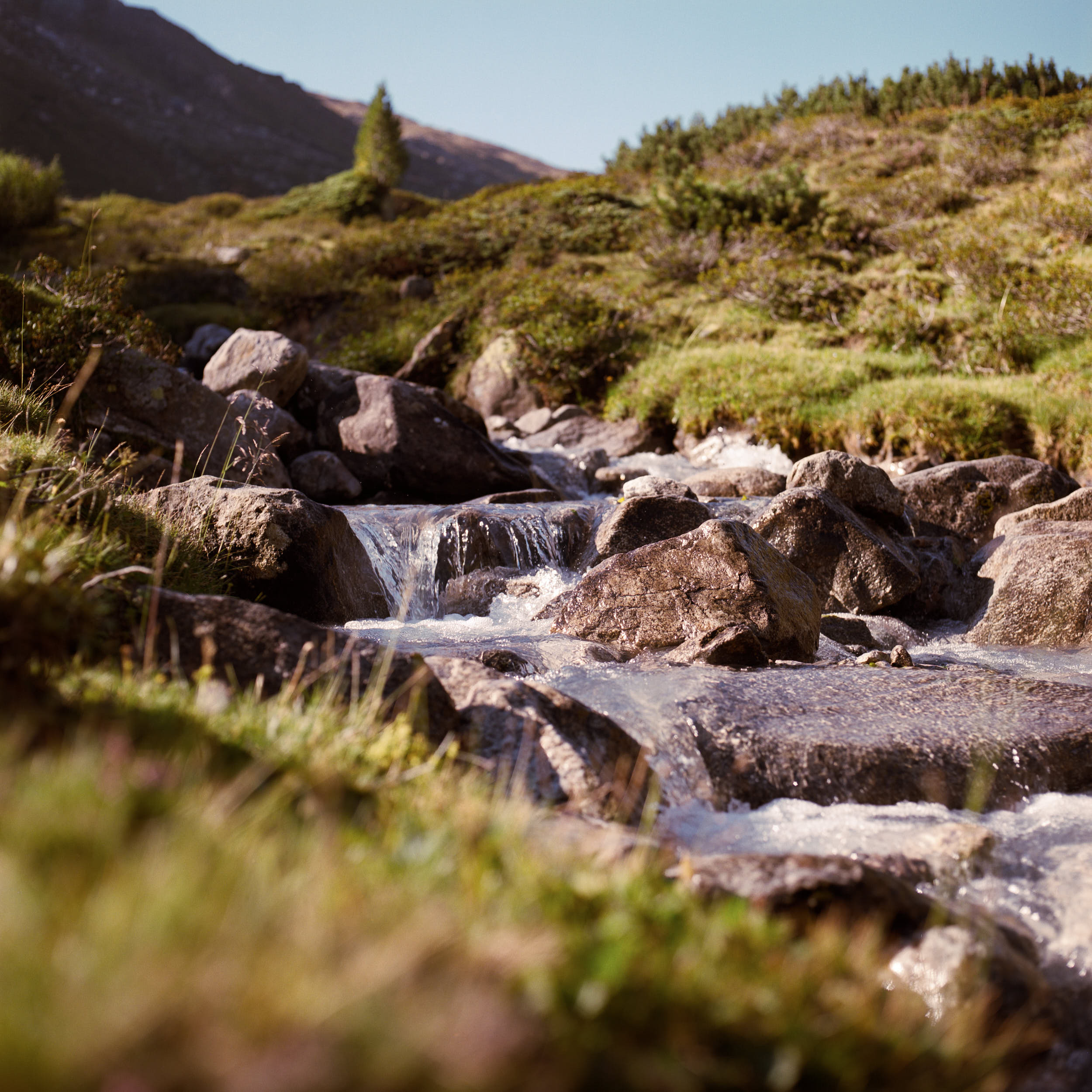 Colour film landscape photography: mountain stream with big rocks on an alpine mountainside.