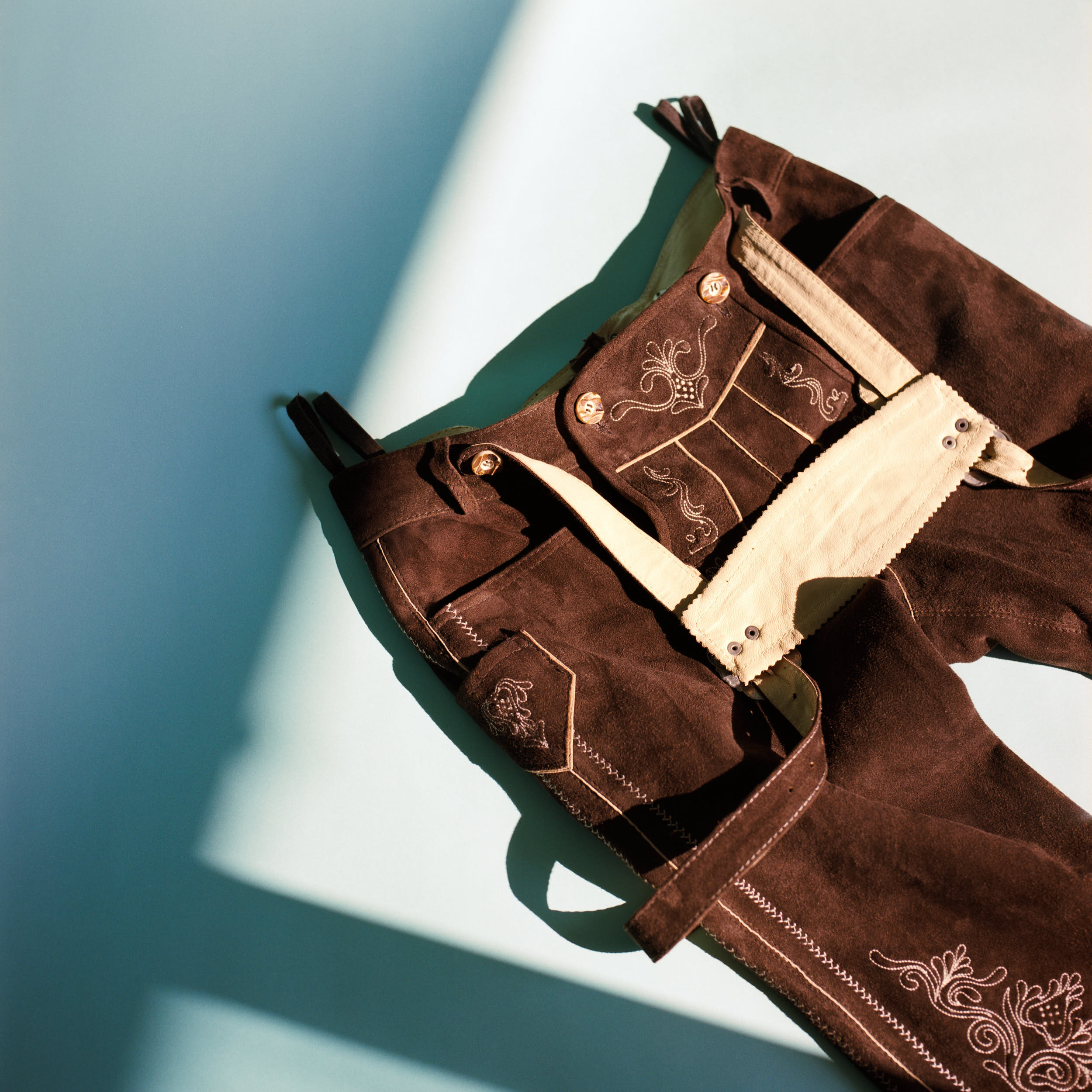 Detail of traditional austrian trousers. Shot on medium format color film.
